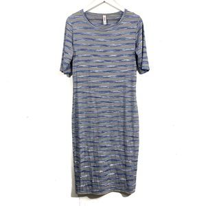 Lularoe Julia Gray Blue Striped Ribbed Dress